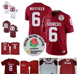Custom Oklahoma Sooners College Football New Red White 6 Baker Mayfield  Stitched Any Name Number 2018 Rose Bowl NCAA Diamond Jerseys 5a9324a09