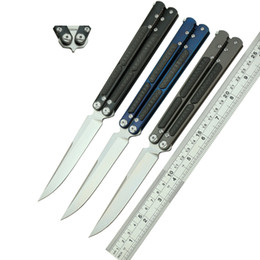 Wholesale Ceramic Combat Knives - F3 version High quality butterfly knife S35VN blade TC4 titanium alloy plus carbon fiber handle ceramics ball bearing system collection EDC