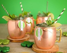 Wholesale Copper Fruit - 530ml Copper Plated Barrel Hammered Fruit Jar Moscow Mule Mug Coffee Cup Beer Cup