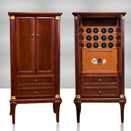 Wholesale Cabinet Solid Wood - Wholesale-Solid rubber wood Watch winder and Jewelry safe box 30pcs automatic watches Storage Cabinet Strongebox 5 programs with LED light