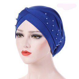 ladies muslim cap Promo Codes - 1PC New Women Elastic Turban Hat Muslim Hijab Islamic Jersey Beads Cancer Chemo Cap Ladies Hijab Stretch Head Wrap Head Scarf