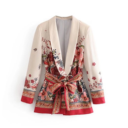 Cappotti di stampa floreali online-Primavera Autunno Donna Vintage Red Floral stampa Kimono giacca donna vita bowknot ante Outwear business office lady wear Coat