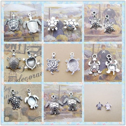 Wholesale Turtle Beads For Bracelet - Tibetan Silver Sea turtle charms for bracelet, antique turtoise pendants for necklace, vintage nautical charm beads jewelry making handmade
