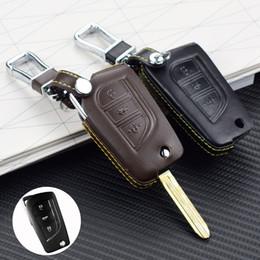 Housse toyota rav4 en Ligne-Top cuir clés de voiture couverture pour TOYOTA RAV4 / 15 Highlander 3 bouton clé pliant protecteur auto