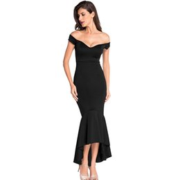 fcb0f39ded6f Elegant Evening Formal Dresses Party Night Cub Long Dress Navy Off-shoulder  Mermaid Jersey Gowns Women Clothes