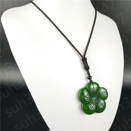 Wholesale jade carving amulet - Green Jade Lucky grass Pendant Necklace Hand Carved Fashion Jewelry Amulet Hot