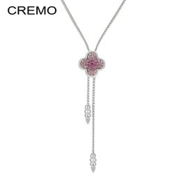 Wholesale clover sweater - Cremo Four Leaf Clover Necklace Zircon Micro Pave Pendant Adjustable Long Chain Necklace for Women Fall Sweater Fashion Jewelry