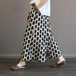 Wholesale polka dots trousers - Women Wide Leg Pants Elastic Waist Trouser 2018 Autumn New Plus Size Women Clothes Black Red Dot Cotton Quality Pants