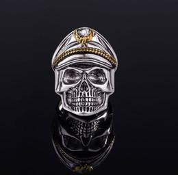 Argentina Anillo de regalos de amigos de Pascua para los antiguos oficiales del ejército anillo de cráneo anillo punk Doble Eagle Hat para hombre de alta calidad adornos Suministro