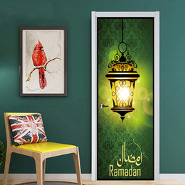 Wholesale bright wall art - 77x200cm Bright Lamp In Darkness Islamic Muslim Mural Art Removable Calligraphy PVC Decal Door Wall Sticker Home Decor