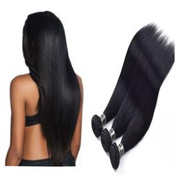 virgin indian straight hair jet black Promotion Brésilienne de Vierge Brésilienne de Cheveux Humains Droite Noir de Jet 1 # Couleur 3 Bundles Unporcessed Indonésien Péruvien Malaisien armure de cheveux humains