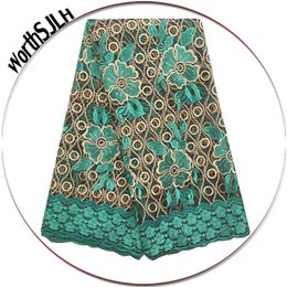 Wholesale Lace Fabric Swiss - 2018 High Quality African Tulle Lace Fabric Swiss African Lace Materials Flower Teal White French Net Nigerian Lace Fabrics