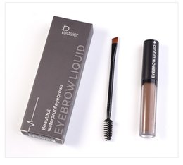Wholesale color pigment black - 48pcs Pudaier Professional Eye Brow Tattoo Brand Cosmetics Long Lasting Pigments Black Brown Waterproof Eyebrow Liquid Makeup with Brush