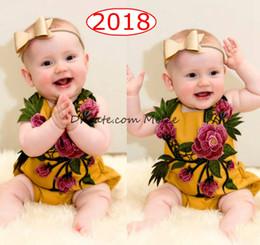 peonia gialla Sconti ins nuovi bambini 3D pagliaccetti in cotone pieno stampa pagliaccetti bambini tute floreali ricamate giallo tuta 0-2 anni libera la nave
