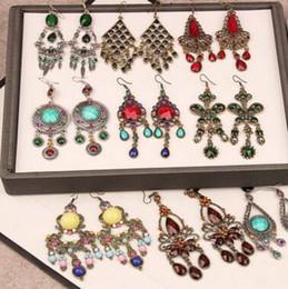 Araña de lucite vintage online-Mixed Styles Vintage bohemio pendientes largos cuelgan galzed piedra preciosa resina bronce borla araña pendiente para las mujeres joyería de moda