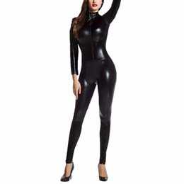 mono brillante Rebajas Sexy Faux Leather Latex Catsuit Piel Tight Shiny Smooth Wetlook Jumpsuit Cremallera frontal Elástico PUBodysuit Slim Clubwear