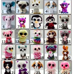 Gran ojo mono de peluche online-Ty Beanie Boos Ojos grandes Búho Unicornio Gato Elefante Pingüino Leopardo Foxy Perro Conejo Jirafa Mono Panda Animales de peluche