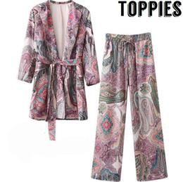Padrões de terno vintage on-line-Toppies Mulheres 2018 Chic Roxo Paisley Impresso Blazer Casaco Cintura Elástica Calças Compridas Ternos de Roupas Femininas Padrão Vintage
