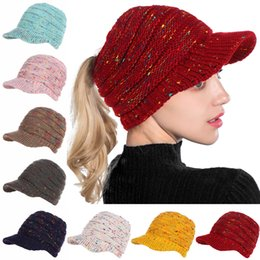 24ad17428d1 beret hip hop women Coupons - Women Soft Stretch Knitted Warm Ponytail Hat  Winter Bun Hat