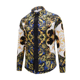 fashion dressing style men shirt Coupons - 2018 New Arrival Men Dress Shirts Fashion Design 3D Printed Slim Style Long Sleeve Covered Button M to XXL