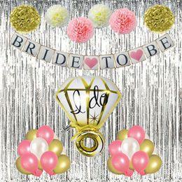 Wholesale foil banner - Bride To Be Glitter Banner for Bridal Shower, Paper Pompoms Flowers, Themed Party Banner, Ring Foil Balloon, 27pcs Latex Balloons Kit