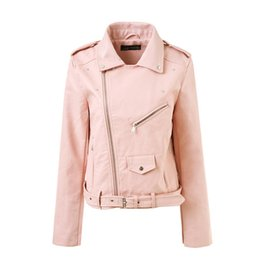 Wholesale woman s pink leather jacket - Autumn Casual Street Women Leather Jacket Short Washed PU Zipper Bright Colors Ladies Basic Jackets Slim Fit Women Coats 2018