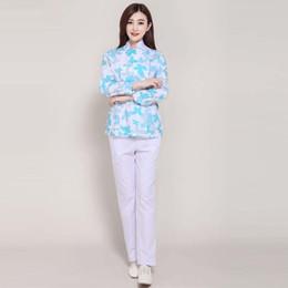 Wholesale Medical Scrubs Uniforms - Women Fashion blue printed medical uniform   Beautician long sleeve stand collar scrub sets   nurse work lab coat