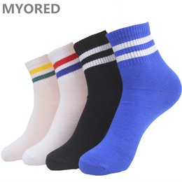 Wholesale Wholesale Mens Tube Socks - MYORED mens summer colored cotton striped socks short tube simple style socks mid sock for man woman unisex meais