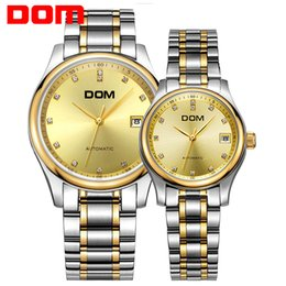 Стальной дом онлайн-DOM mechanical Couples watch top  waterproof stainless steel Couples watches crystal hombre M-95+G-95