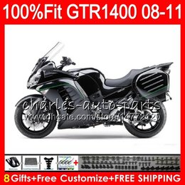 zx14 verkleidung einspritzung Rabatt Einspritzungs-Körper für KAWASAKI NINJA GTR1400 08 09 10 11 116HM.3 GTR-1400 GTR 1400 2008 2009 2010 2011 Verkleidungskit ALLE blk + Glanzschwarzes 8Gifts