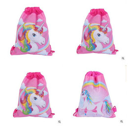 Wholesale Woven Drawstring Backpack Wholesale - Unicorn Drawstring Bags Kids Backpack Nonwovens Girls Boys Pouch Gift Bags Children School Travel Storage Bags Free Shipping