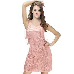 Vestidos de baile de salsa mujeres online-Nueva mujer Latin Fringe Dress Desgaste de la danza Mujeres Vestido latino Dance Salsa Cha Cha Vestidos de baile Dancewear Ballroom