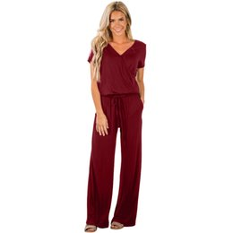 0414f7cd6ed Sexy Playsuit Women Rompers Casual Loose Lunch Date Jumpsuit Fashion V Neck  Short Sleeve Wide Leg Summer Party Club Rompers with Pockets