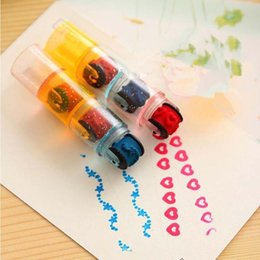 Wholesale Self Inking Stamps Kids - 1pcs Kids Colorful Cartoon Scroll Stamp Toy Set Children Custom Plastic Rubber Self Inking Stampers Toys