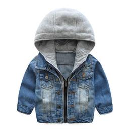 Bébé Garçons Manteau 2018 Nouveau Printemps Automne Lavant Doux Denim Manteau À Capuche Zipper Manteau Jeans Veste pour Enfants Enfants Vêtements 6T ? partir de fabricateur