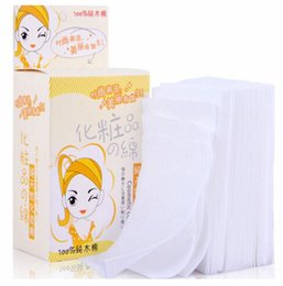 Wholesale Facial Cotton - Wholesale New Practical Durable Makeup Sponges Cosmetic Facial Cleaning White Cotton Remover Pads Wipes 100 Pcs lot