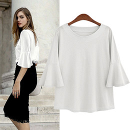 Wholesale womens office shirts - 2018 summer white Chiffon Blouse Women Flare Sleeve vintage plus size loose office Shirt womens tops and blouses blusa feminina