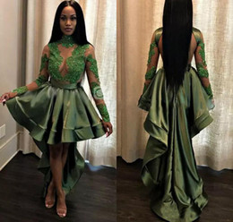 Wholesale Girls Emerald Dresses - Emerald Green Black Girls High Low Prom Dresses 2018 Sexy See Through Appliques Sequins Sheer Long Sleeves Evening Gowns Cocktail Dress