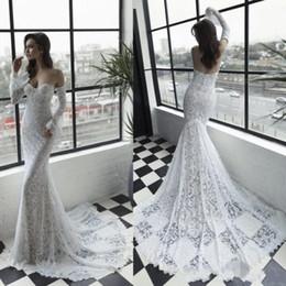 Casamento do querido do vinho de julie on-line-Sexy Julie Vino 2019 Vestidos De Noiva Sereia Vestidos De Noiva Querida Manga Comprida Vestidos De Casamento vestidos de noiva Praia Do Laço Vestidos De Casamento