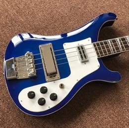 Cuerda caliente bajo eléctrico online-Vicers Wholesale - 4 cuerdas 4003 bajo azul eléctrico guitarrón plateado hardware de China Guitarra CALIENTE VENTA CALIENTE