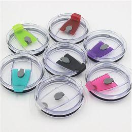 Tapa plástica online-Tapa resistente a salpicaduras a prueba de salpicaduras con tapa antirreflectante de 7 colores y 30 onzas para taza de acero inoxidable de 30 onzas Taza para coche Drinkware Tapa CCA10090 120pcs