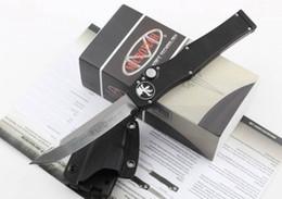 """Argentina Oferta especial Microtech Black Classic Cuchillo de hoja Halo V Tanto (4.6 """"Satin) 150-4 cuchillo táctico auto de acción simple Cuchillos de supervivencia Suministro"""