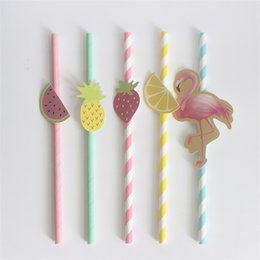 Wholesale Wholesale Straw Holder - Cartoon Drinking Straws Five Diverse Modeling As Flame Bird Strawberry Watermelon Lemon Pineapple Creative Design Novel Style 3rs X