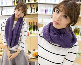 Wholesale Cable Knit Scarfs - Unisex Women Winter Warm Infinity 2 Circle Cable Knit Cowl Neck Long scarf Shawl Knitted Scarves infinity Scarf Knitted Shawl Neck Warm
