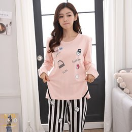 Wholesale Young Girls Clothing - 25 Style Young Girl Pajama Sets 2018 Spring Autumn Long Sleeve Women SleepwearCarton Cotton Pajamas Mujer Women Home Clothes