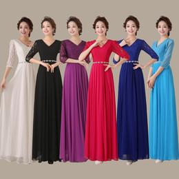 encaje noble Rebajas 2019 envío gratis Noble Lace New largo negro azul V vestido de dama de honor vestidos de noche formales HY1186