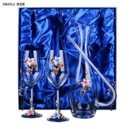 Wholesale Crystal Decanters - Crystal wine set gifts glass Wine set wedding flower glasses Decanter for bottle stopper Wedding decorations