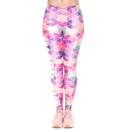 79045b56c377 Women Leggings Work Out Triangle Pink 3D Print Lady Elastic Waist Band Yoga  Wear Pants Gym Fitness Pencil Fit Stretch Trousers (YX34261)