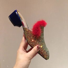 Wholesale Low Heel Gold Glitter Shoes - New Arrival 2018 Real Pictures fall spring womens shiny pink gold Glitter slip on fur trim mule low heel Loafers slippers Luxury brand shoes