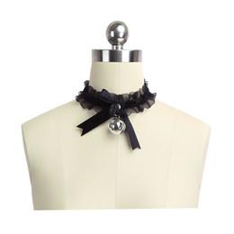 Spielbögen spielen online-Kätzchen spielen Kragen DDLG Choker Halskette Lace kleine Bogen Bell-schwarz